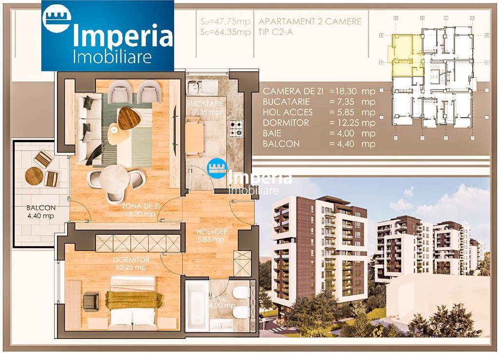 Apartamente noi, 2 camere decomandate, parcare subterana, Pacurari