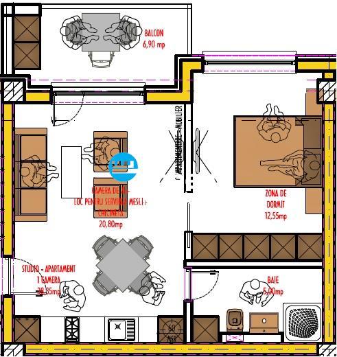 Apartament de vanzare 1 camera, bloc nou,zona rond Pacurari
