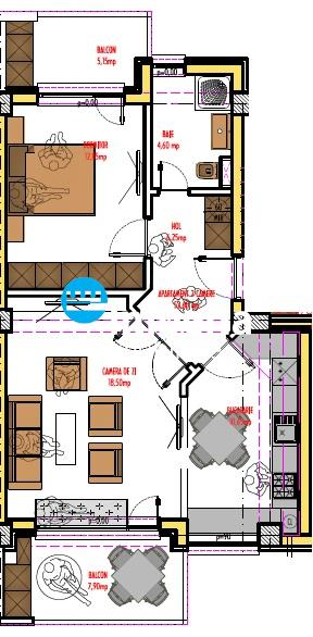 Apartament de vanzare 2 camere, bloc nou,zona rond Pacurari