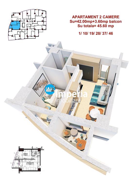 Apartament 2 camere, Proiect NOU Central visavis de PALAS