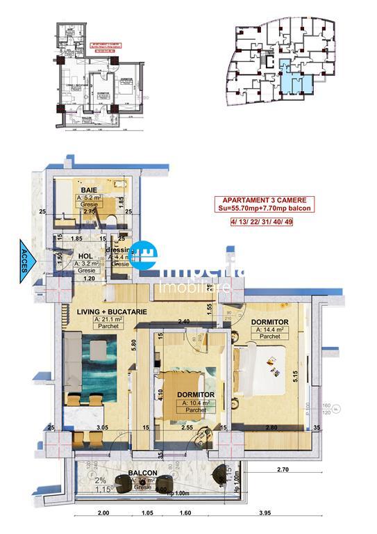 Apartament 2 sau 3 camere, Bloc Nou  Central Palas Campus