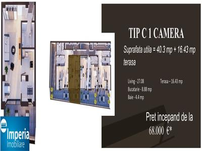 Apartament 1 Camera,Bloc nou COPOU
