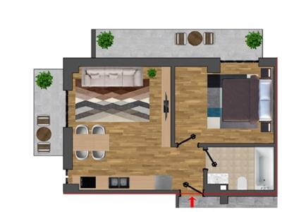 apartament de vanzare,2 camere openspace, bloc nou, pacurari sos rediu Iasi
