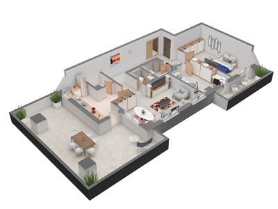 apartament 3 cam cu terasa de vanzare,136 mp,dacia Iasi