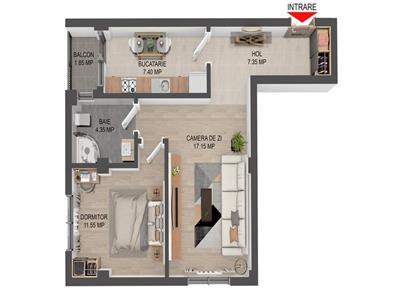 Apartament 2 camere, decomandat, de vanzare, Valea Lupului