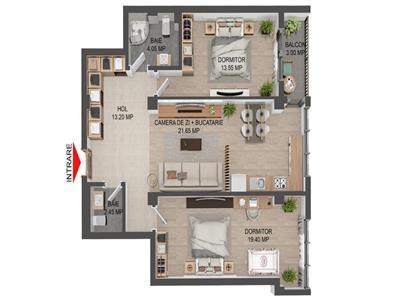 Apartament 3 camere, open space, de vanzare, Valea Lupului